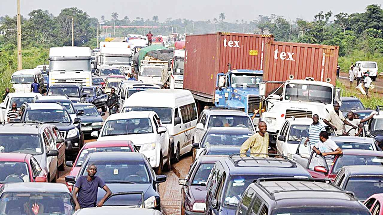 Traffic gridlock at the Lagos-Ibadan Expressway under reconstruction….