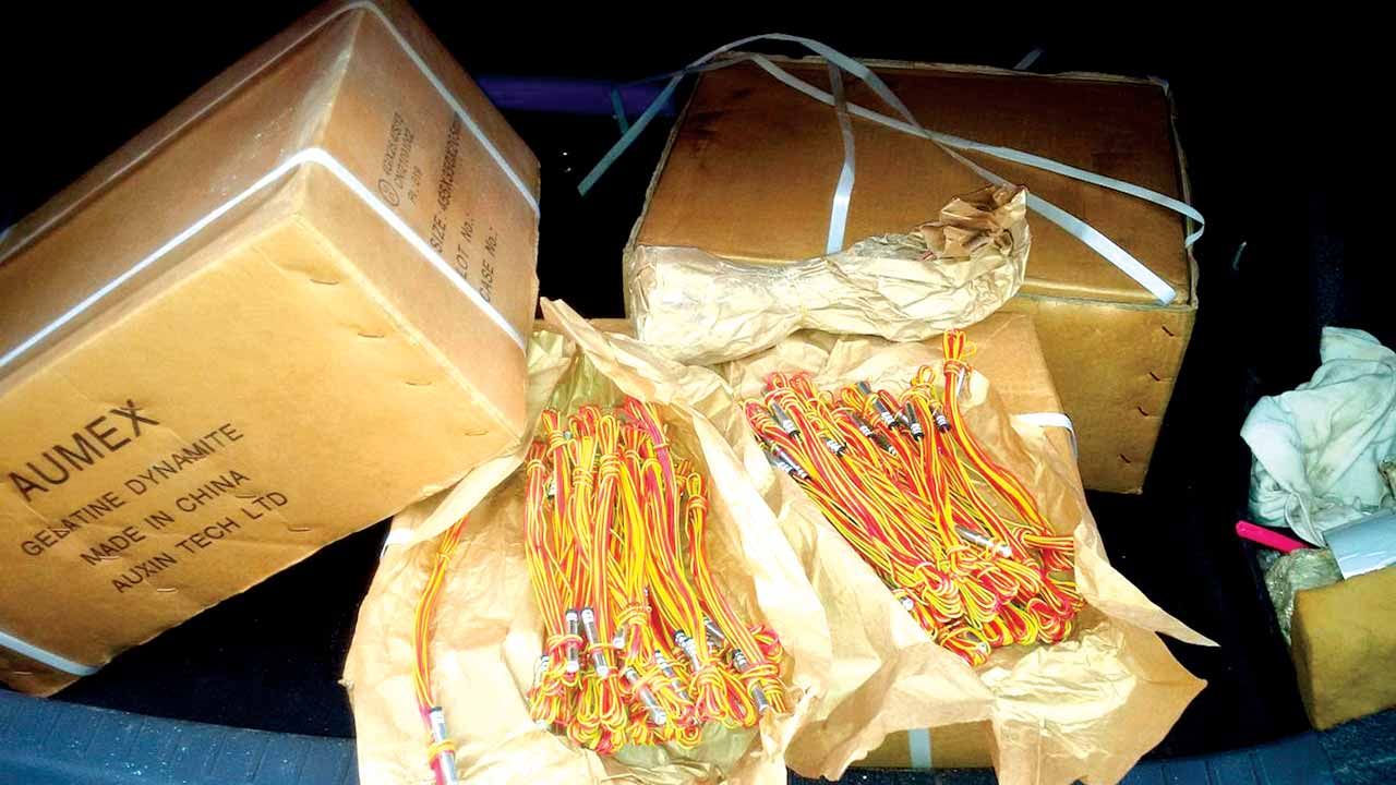 Explosives recovered from the suspect
