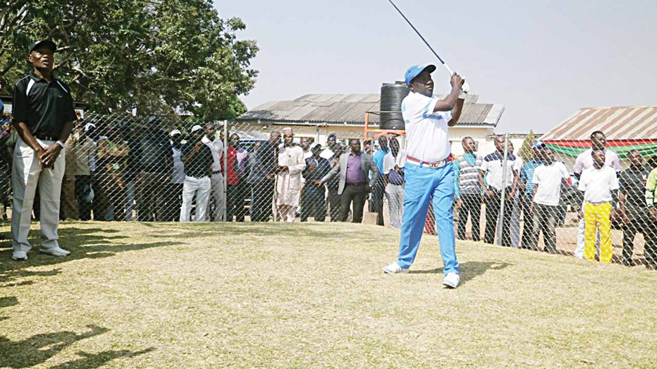 Plateau State Governor, Simon Bako Lalong, teeing off the 2016 Governor's Cup Golf Championship at the Lamingo Golf Club, Jos… yesterday.