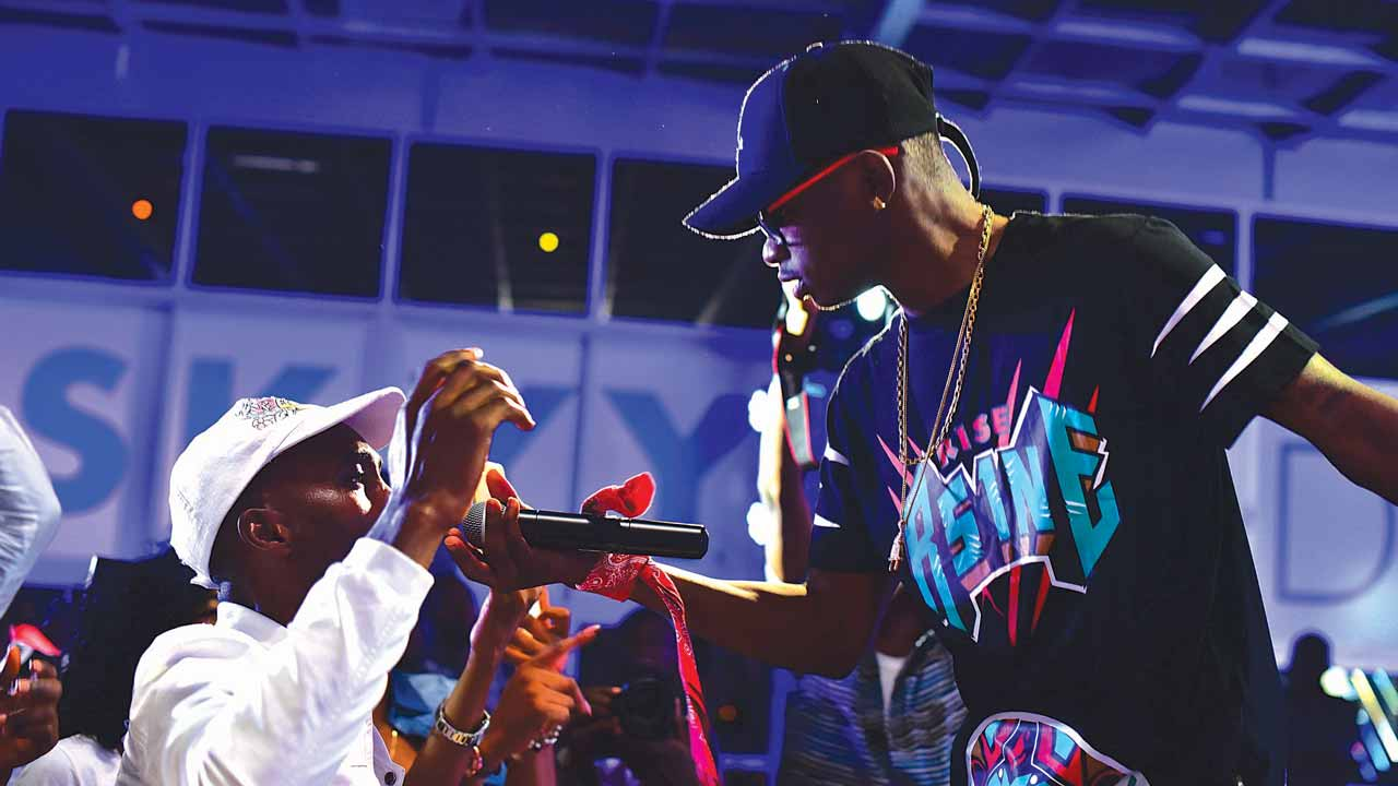 Lil Kesh performing at the Skyy party in Lagos.