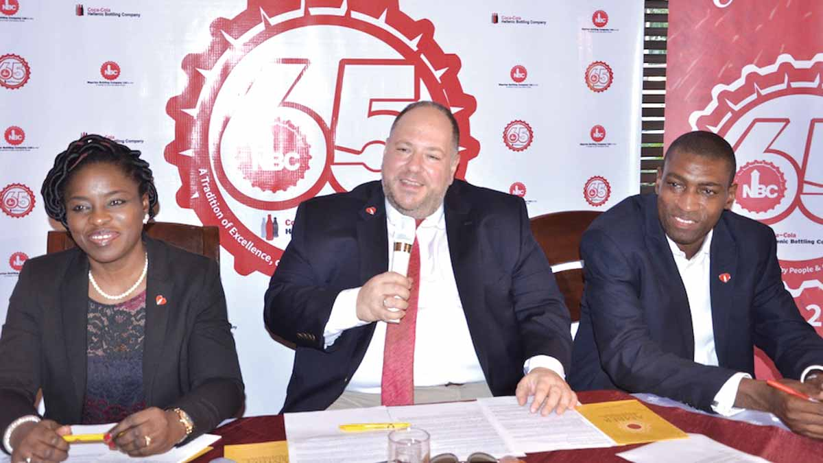 Legal, Public Affairs and Communications Director, Nigerian Bottling Company (NBC) Limited, Mrs. Folasade Morgan; Managing Director, NBC, Mr. George Polymenakos and Corporate Communications Manager, NBC, Mr. Akomen Omijeh at a press conference marking the company's 65th anniversary… in Lagos