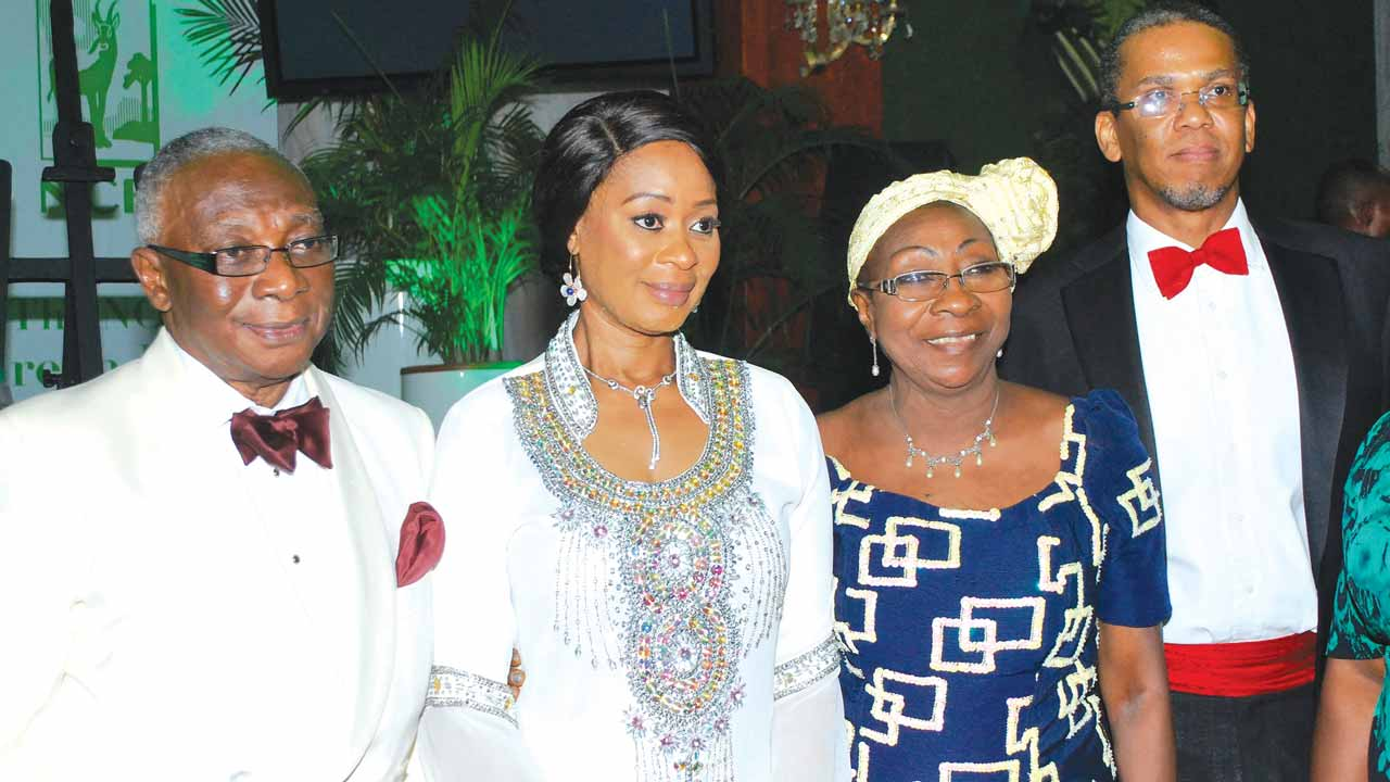 President, Nigeria Conservation Foundation (NCF) Board of Trustees, Izoma Philip Asiodu  (left); wife of Ogun State Governor, Olufunke Amosun; Member of NCF Board of Trustees, Francesca Yetunde Emanuel and Chairman NCF National Executive Council, Chief Ede Dafinone at the Green ball 2016, a charity fund raising ceremony  for the Nigerian Conservation Foundation in Lagos			                 PHOTO: AYODELE ADENIRAN