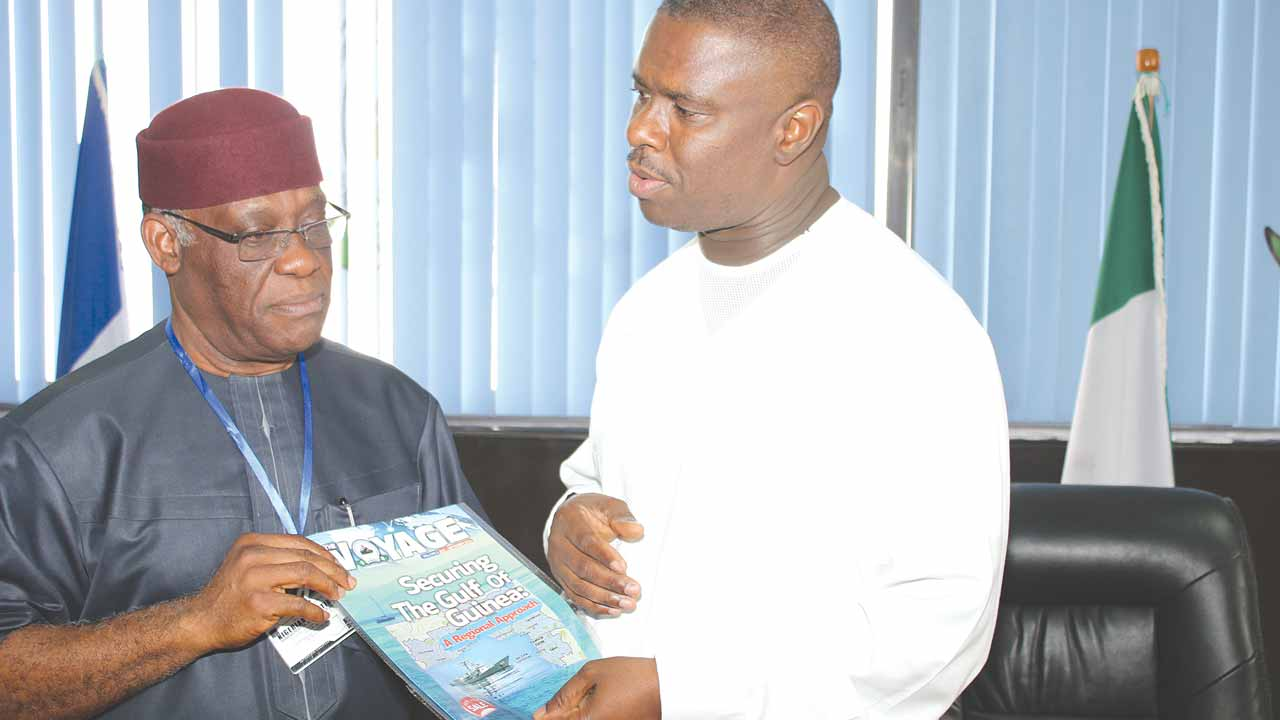 Director General of Nigerian Meteorological Agency (NIMET), Dr. Anthony Anuforom (left), with the Director General of Nigerian Maritime Administration and Safety Agency (NIMASA), Dakuku Peterside, when he led his management team on a working visit to the agency's Headquarters in Lagos State.