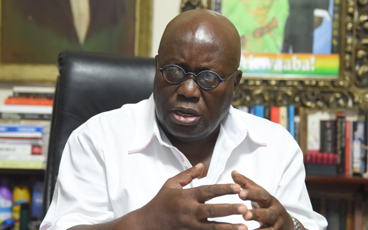 Ghana's President-elect and candidate of the opposition New Patriotic Party (NPP), Nana Akufo-Addo speaks during an interview at his residence in Accra, on December 10, 2016, a day after winning the national election, tapping into an electorate fed up with a sputtering economy and ready for change. / AFP PHOTO / Pius Utomi Ekpei