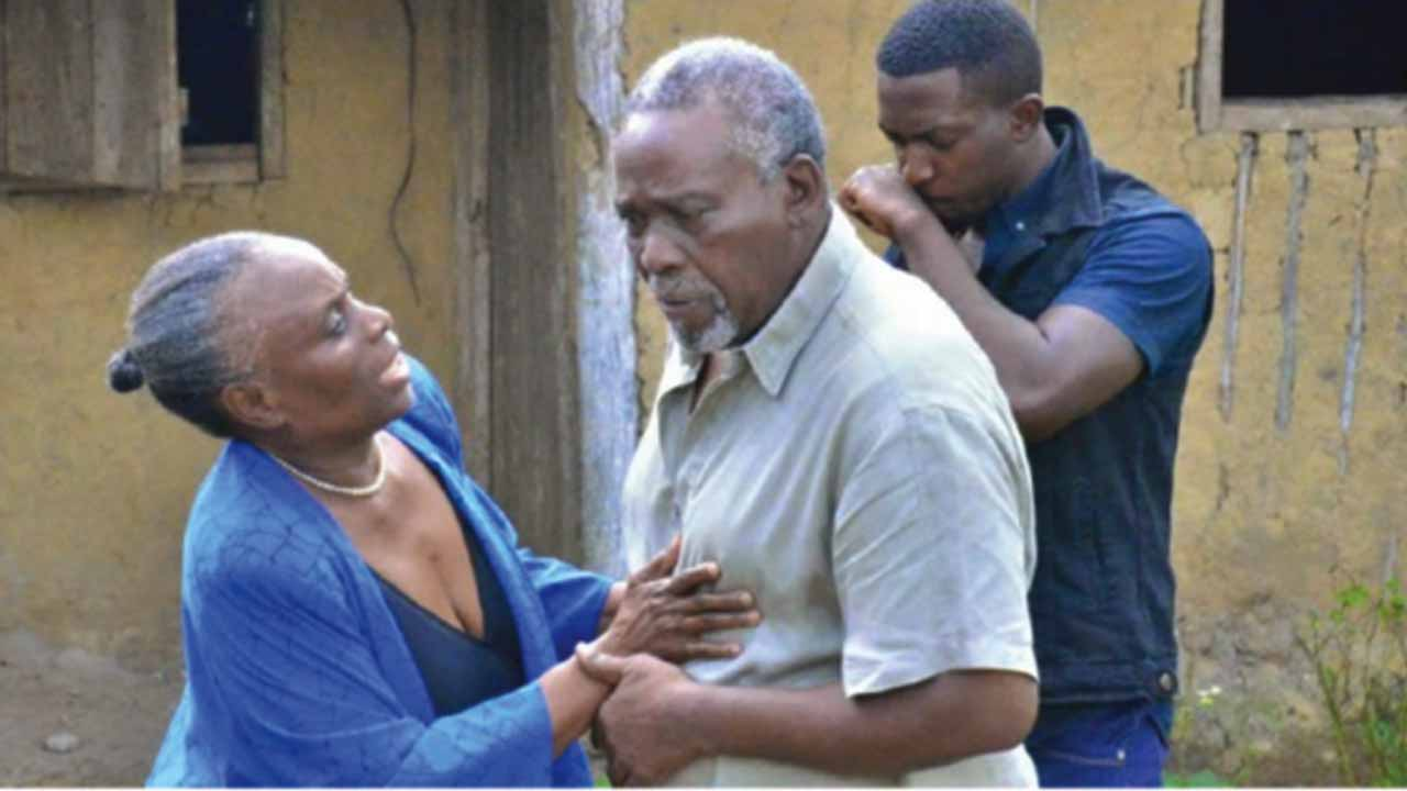 Taiwo Ajyi-Lycett and Olu Jacob on set of Olibori