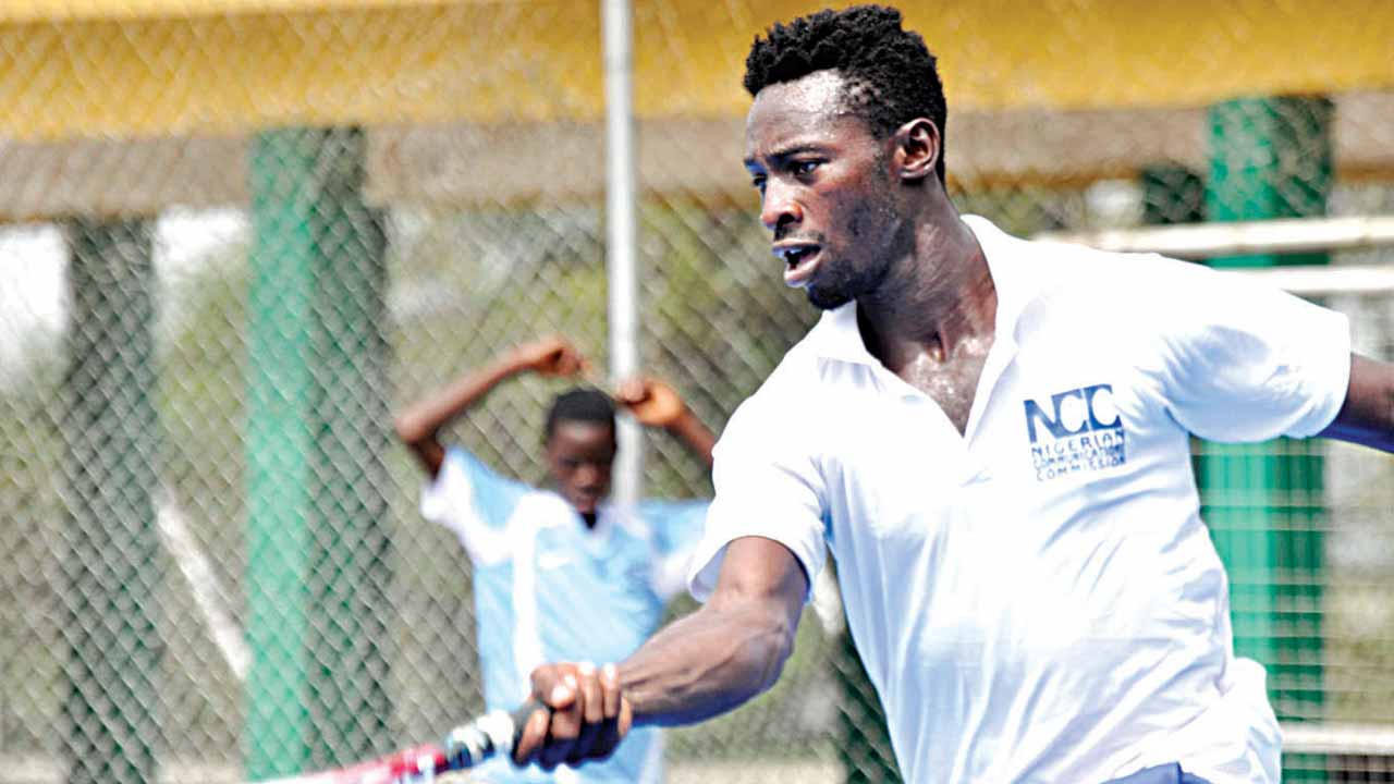 Team Tombim's Thomas Otu awaits Team Offikwu in the final of the NCC Tennis League scheduled for the National Stadium, Lagos… this weekend.