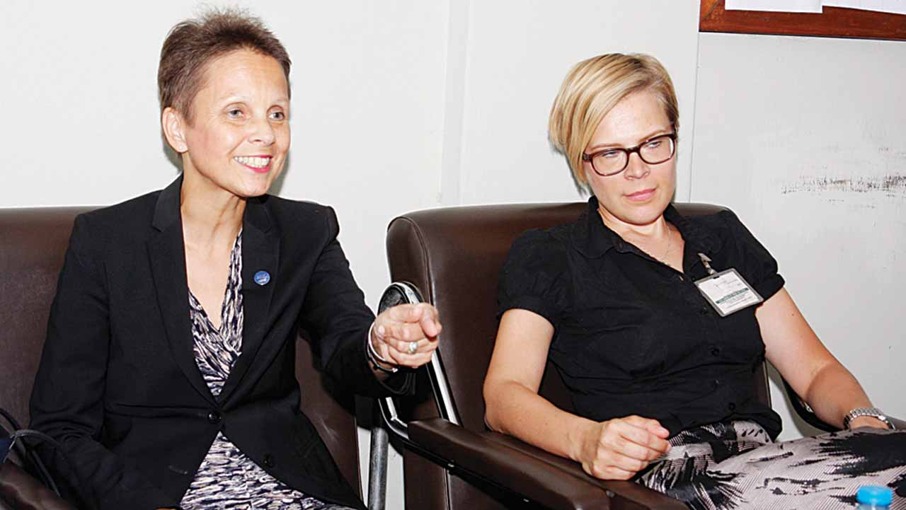 Finland's Ambassador to Nigeria, Pirjo Suomela-Chowdhury (left) and Second Secretary, Outi Koikkalainen, during a courtesy visit to the Rutam House headquarters of The Guardian in Lagos…yesterday. PHOTO: FEMI ADEBESIN-KUTI