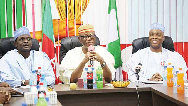 National Secretary of the All Progressives Congress (APC), Alhaji Mai Mala Buni (left); National Chairman of the party, Chief John Odigie-Oyegun and Senate President Bukola Saraki, when Saraki and APC senators visited the national secretariat of the party in Abuja… yesterday.