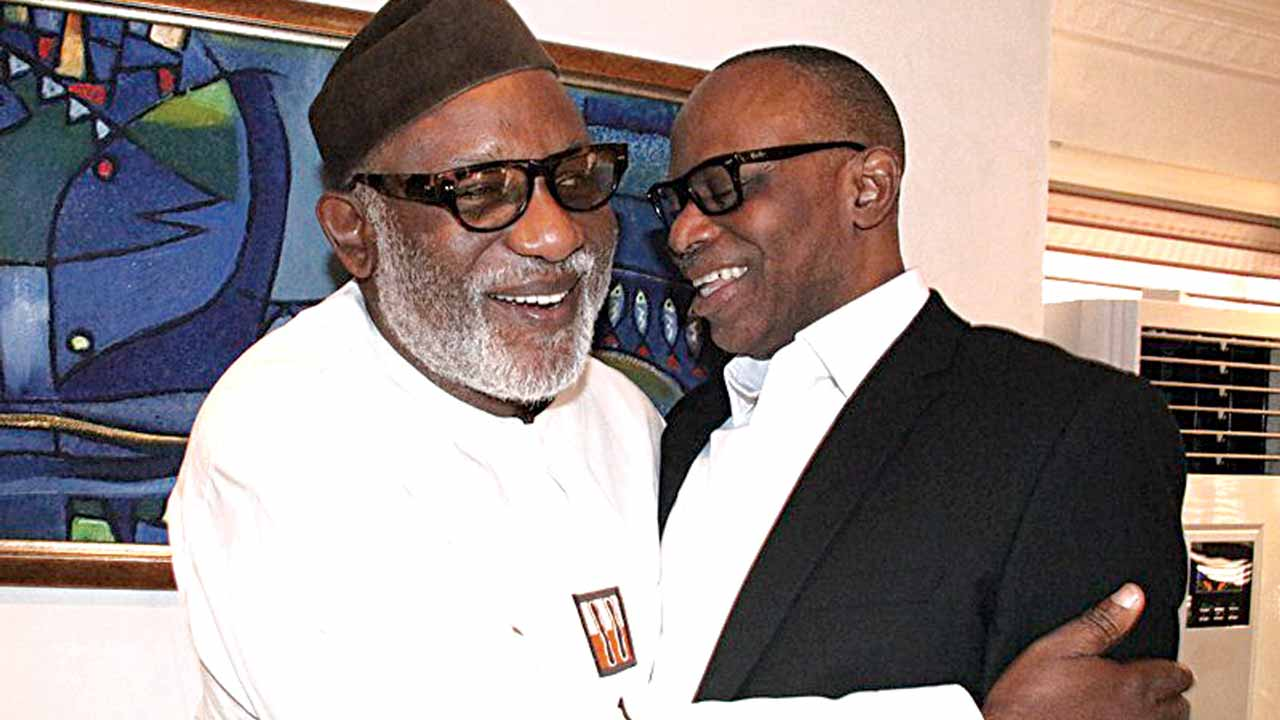 Ondo State Governor, Olusegun Mimiko (right) welcoming governor-elect, Rotimi Akeredolu to his office in Akure during a visit yesterday. PHOTO: ONDO STATE GOVERNMENT HOUSE