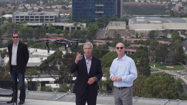 Watching some drone testing from the roof of Qualcomm's headquarters.