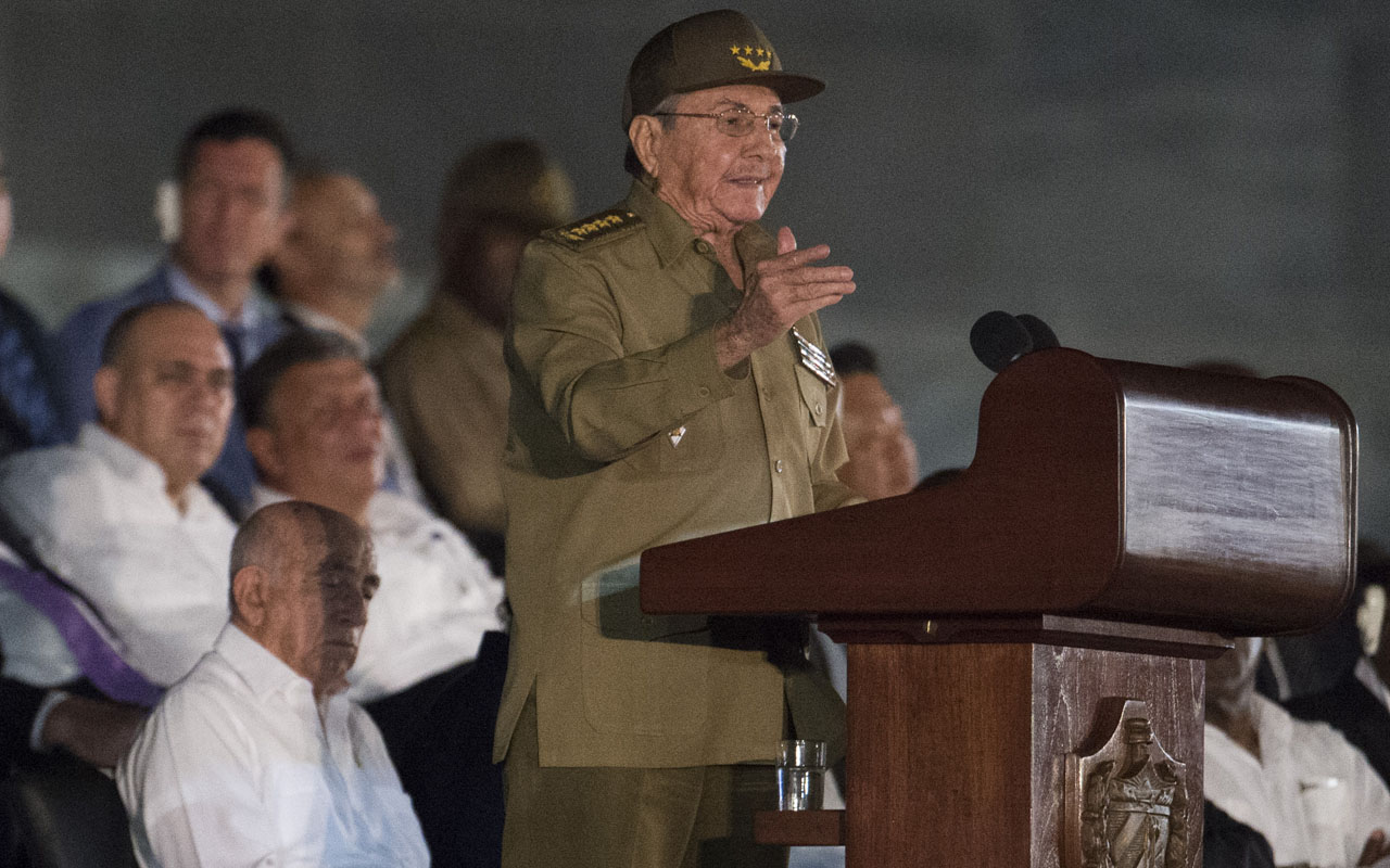 Cuban President Raul Castro addresses a massive rally on Revolution Square in Havana on November 29, 2016 in honor of late leader Fidel Castro. Fidel Castro -- who ruled from 1959 until an illness forced him to hand power to his brother Raul in 2006 -- died Friday at age 90. The cause of death has not been announced. / AFP PHOTO / JUAN BARRETO