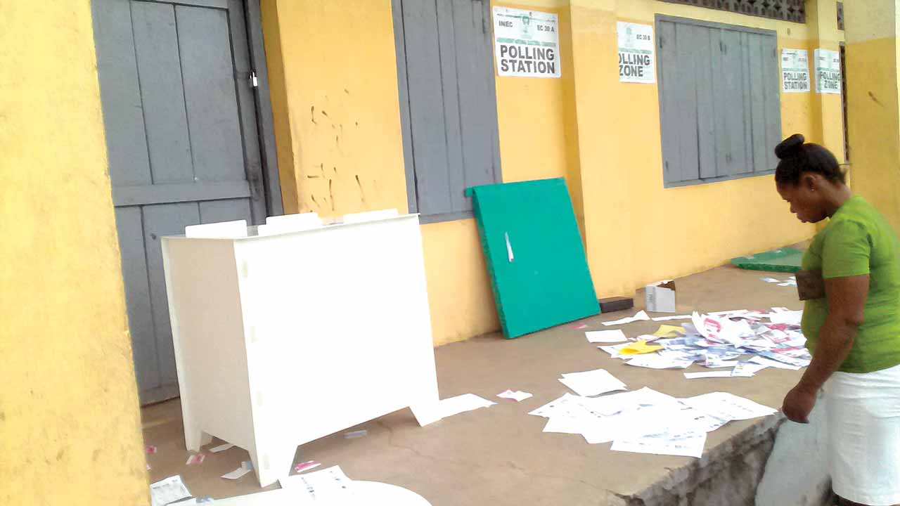 At St Pius X College, Bodo, scene of yesterday's mayhem during the Rivers State rerun election