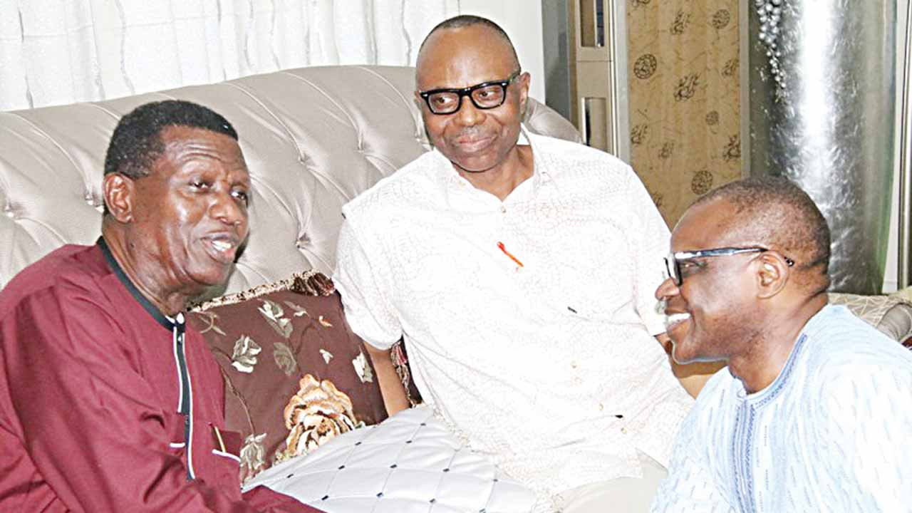 General Overseer of the Redeemed Christian Church of God, Pastor Enoch Adeboye (left), Ondo State Governor, Dr Olusegun Mimiko (middle), and the Peoples Democratic Party (PDP) governorship candidate in last gubernatorial election in the state, Eyitayo Jegede (SAN), at the 'Let's Go a Fishing' programme, in Akure.