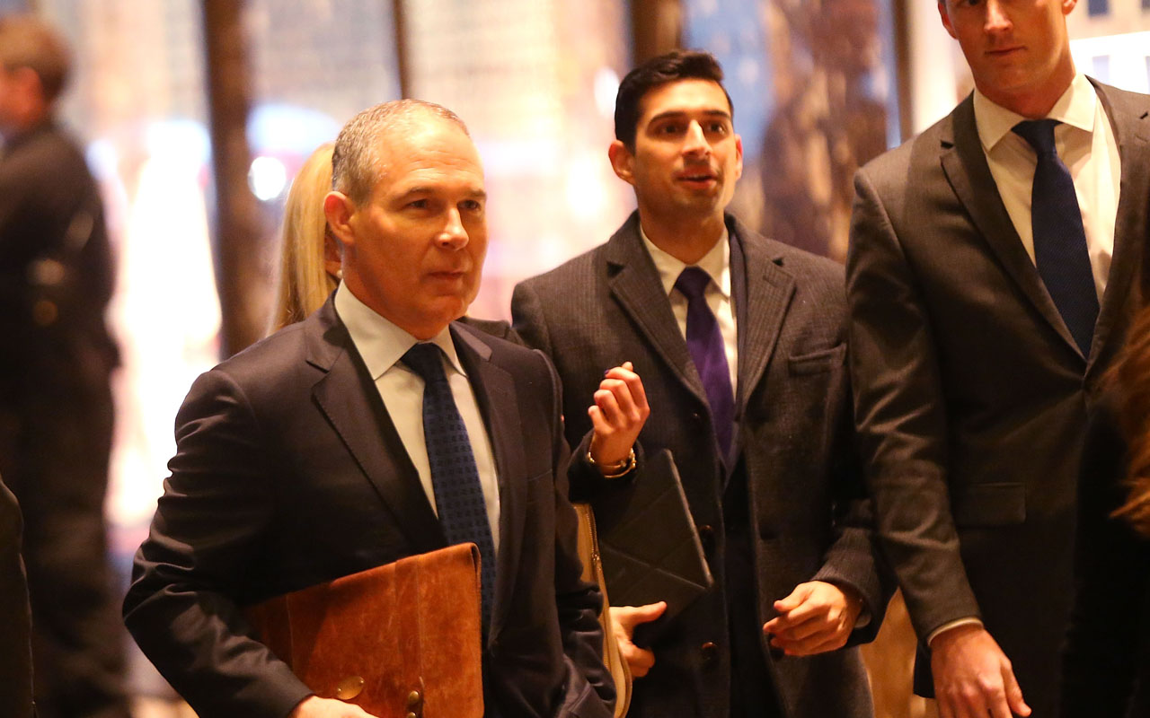 Oklahoma Attorney General Scott Pruitt arrives at Trump Tower on December 7, 2016 in New York City. Potential members of President-elect Donald Trump's cabinet have been meeting with him and his transition team of the last few weeks. Spencer Platt/Getty Images/AFP