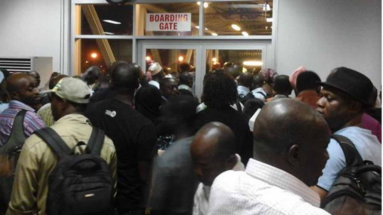 Stranded passengers at a Lagos airport...yesterday
