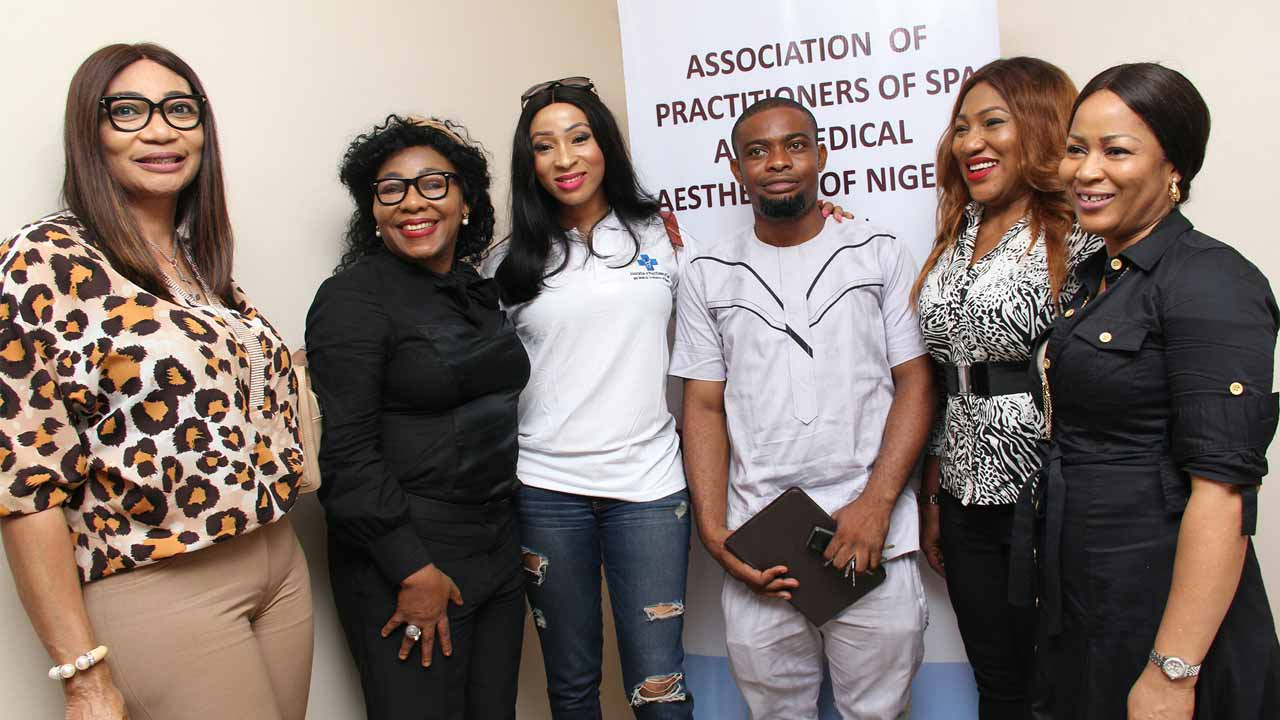 Owner, Body Beautiful Day Spa, Dayo Adebayo (left); Managing Director, Be Natural, Pamela Olatunji; Venivici Health Club and Urban Spa, Arinola Adeniyi; President, Association of Practitioners of Spa and Medical Aesthetics of Nigeria (APSMAN) and Founder, Dr. Therapy Clinic and Spa, Felix Avajah; Founder Irishmed Spa and Beauty Home, Odinamadu Chineze and General Secretary APSMAN and founder, Freshlook Day Spa, Toyin Collins, during the association's meeting in Ikeja.