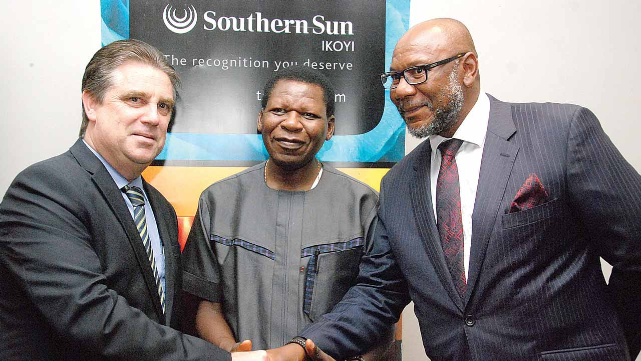 General Manager, Southern Sun Ikoyi, Mark Loxley; Counsellor Political, South African Consulate General in Nigeria, Vhangani Peter Makwarela, and First Secretary Political, South African Consulate General in Nigeria, George Nesengane at the event.