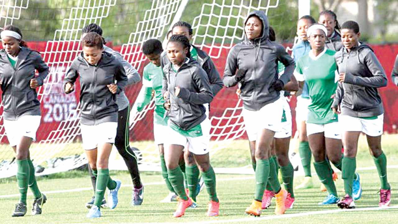Super Falcons' players training ahead of their final match against the Lionesses of Cameroon during the 10th African Women's Nations, Cameroon 2016.