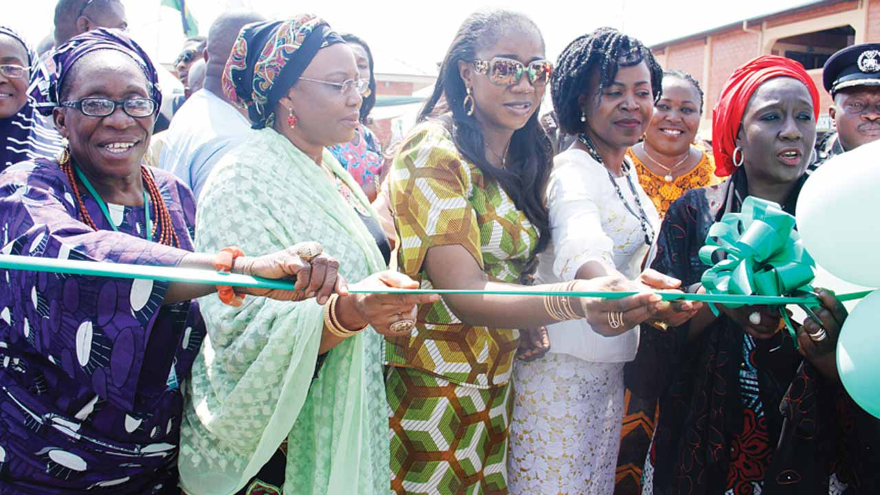 National President, Men/Women Market Association, Felicia Sani (left); wife of the former governor of Kogi State, Halima Wada; wife of ex-governor of Benue State, Yemisi Suswan; Alanyingi Sylva, wife of Bayelsa State former governor and Minister of State for Trade and Investment, Aisha Abubakar during the official opening of Wuye Ultra Modern Market Christmas Trade Fair in Abuja… yesterday.