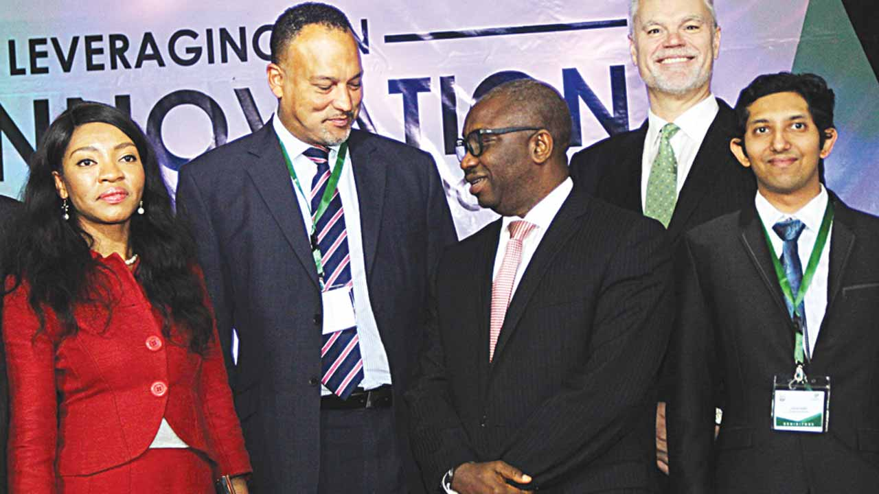 The Deputy President, Nigerian Society of Engineers (NSE), Adekunle Mokuolu (left), President, NSE, Otis Anyaeji, Chairman, NSE's Conference Planning Committee, Giandomenico Massari and Chairman, Conference Technical Committee, Prof. Howells Hart, at the 2016 African Engineering Conference in Abuja…yesterday                                                             PHOTO: Lucy Ladidi Elukpo .