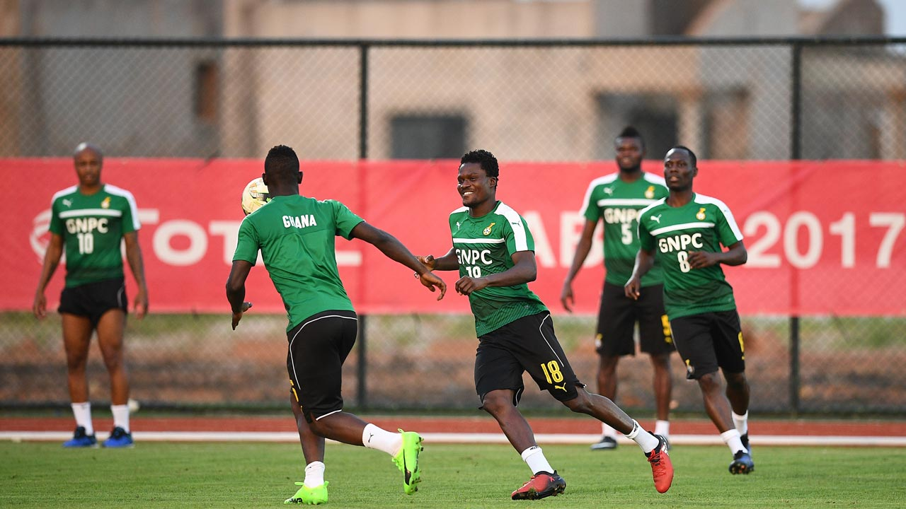 Ghana's national football team takes part in a training session in Port-Gentil on January 19, 2017, during the 2017 Africa Cup of Nations football tournament in Gabon. Justin TALLIS / AFP