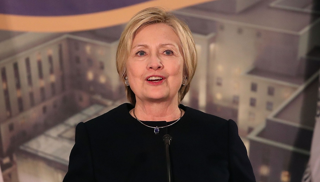 Former Secretary of State Hillary Clinton speaks at a reception celebrating the completion of the U.S. Diplomacy Center Pavilion, at the State Department on January 10, 2017 in Washington, DC. The first floor of the pavilion was dedicated and named the Hillary Rodham Clinton Pavilion. PHOTO: Mark Wilson/Getty Images/AFP