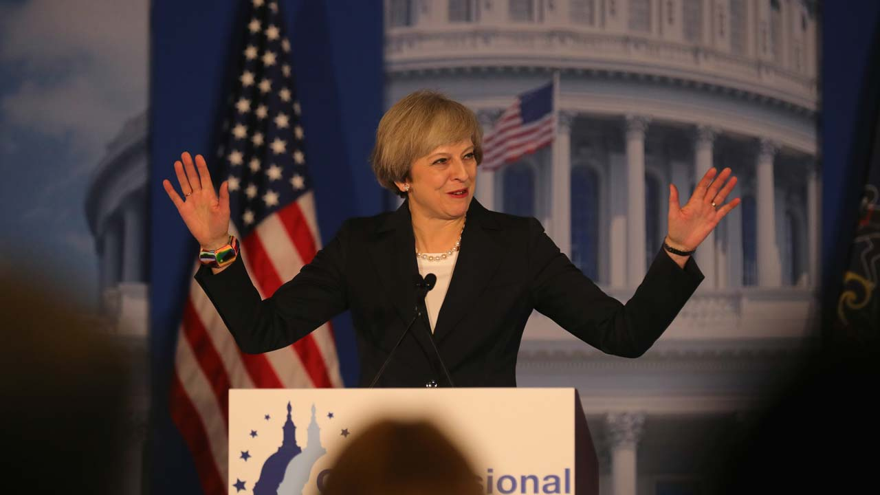 PHILADELPHIA, PA - JANUARY 26: British Prime Minister Theresa May speaks at the Congress of Tomorrow Republican Member Retreat at Loews Philadelphia Hotel on January 26, 2017 in Philadelphia, Pennsylvania. British Prime Minister Theresa May is on a two-day visit to the United States and will be the first world leader to meet with President Donald Trump. PHOTO: Christopher Furlong/Getty Images/AFP