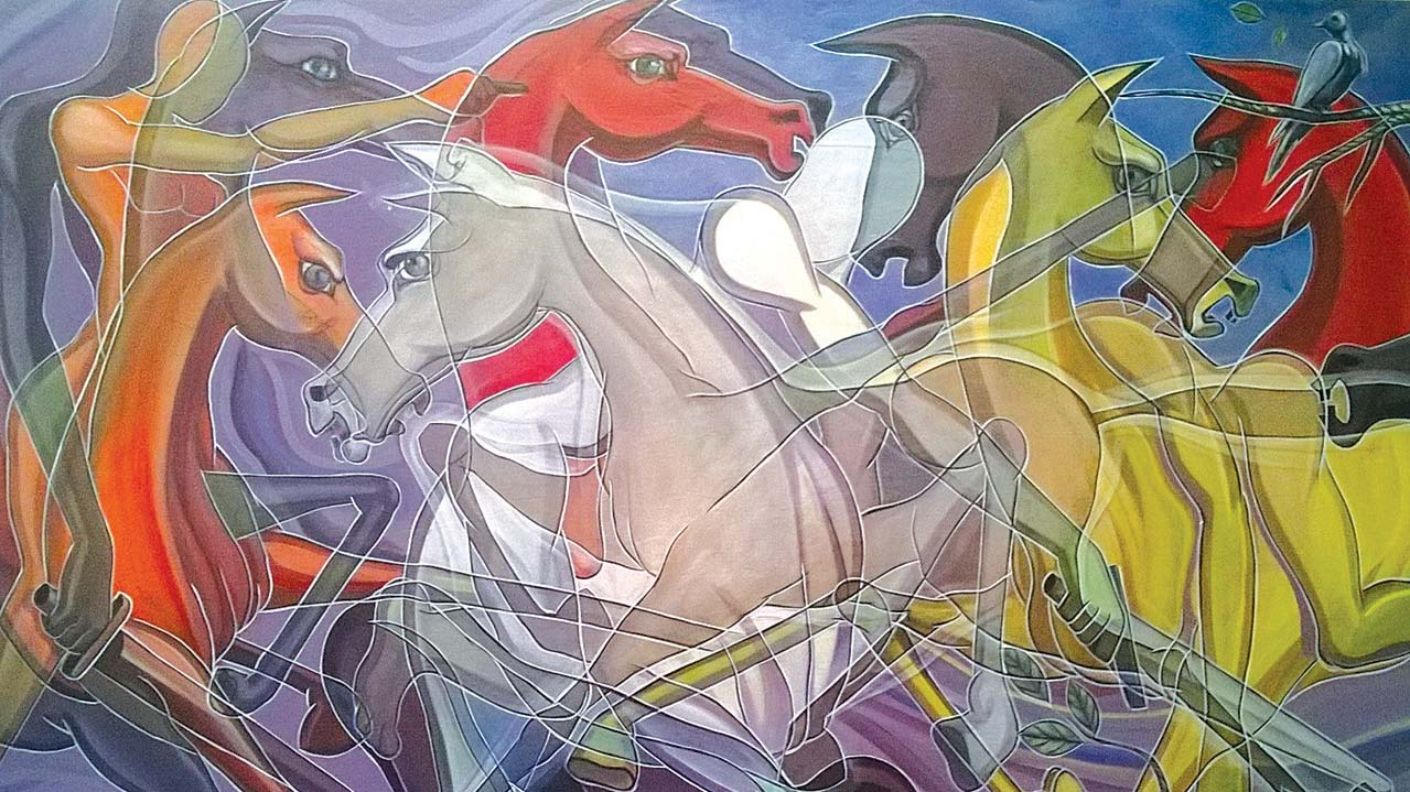 A painting, Charging Horses by Tayo Olayode