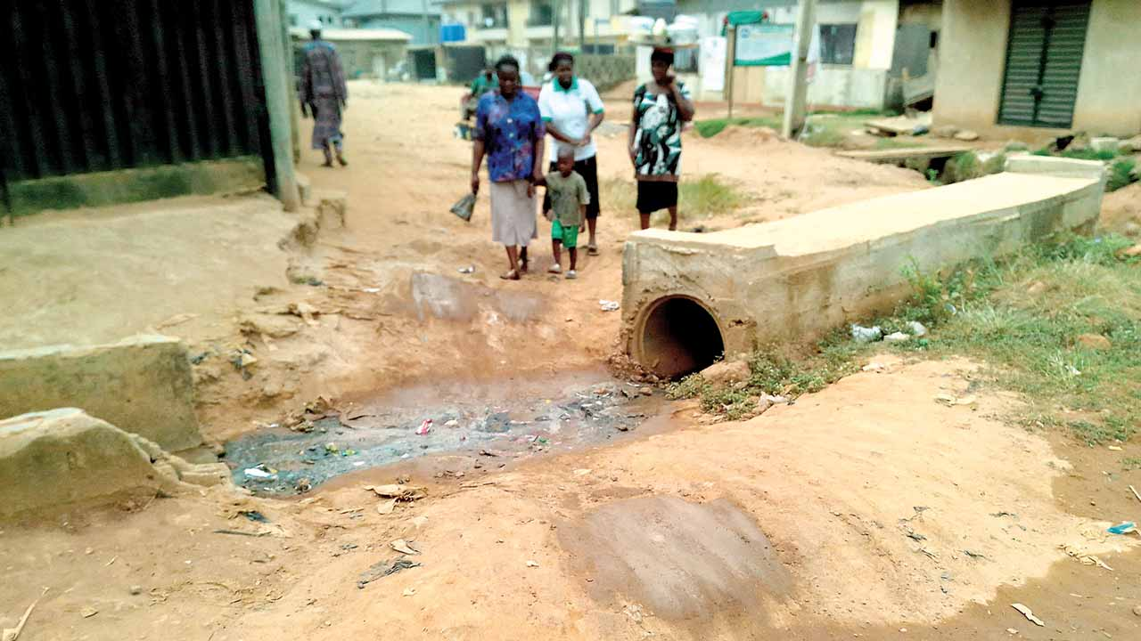 Abandoned work on culvert along Olaseni Bello Street, in Abaranje Community... Lagos