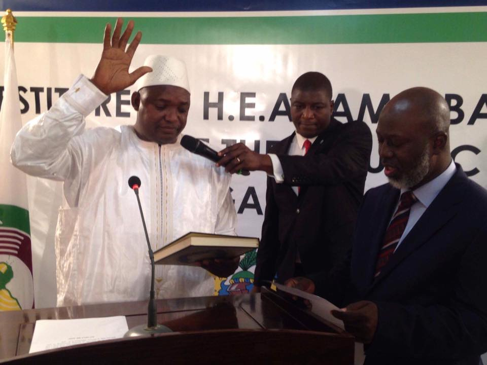 New Gambian president Adama Barrow taking oath of office on Thursday, January 19, 2017. PHOTO: TWITTER/ADAMA BARROW