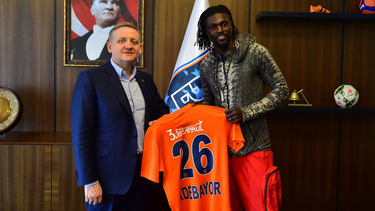 "Club chairman Mustafa Seral told the Anadolu news agency that Adebayor was arriving on a one and a half year contract and would make a ""major contribution"". PHOTO: TWITTER/"