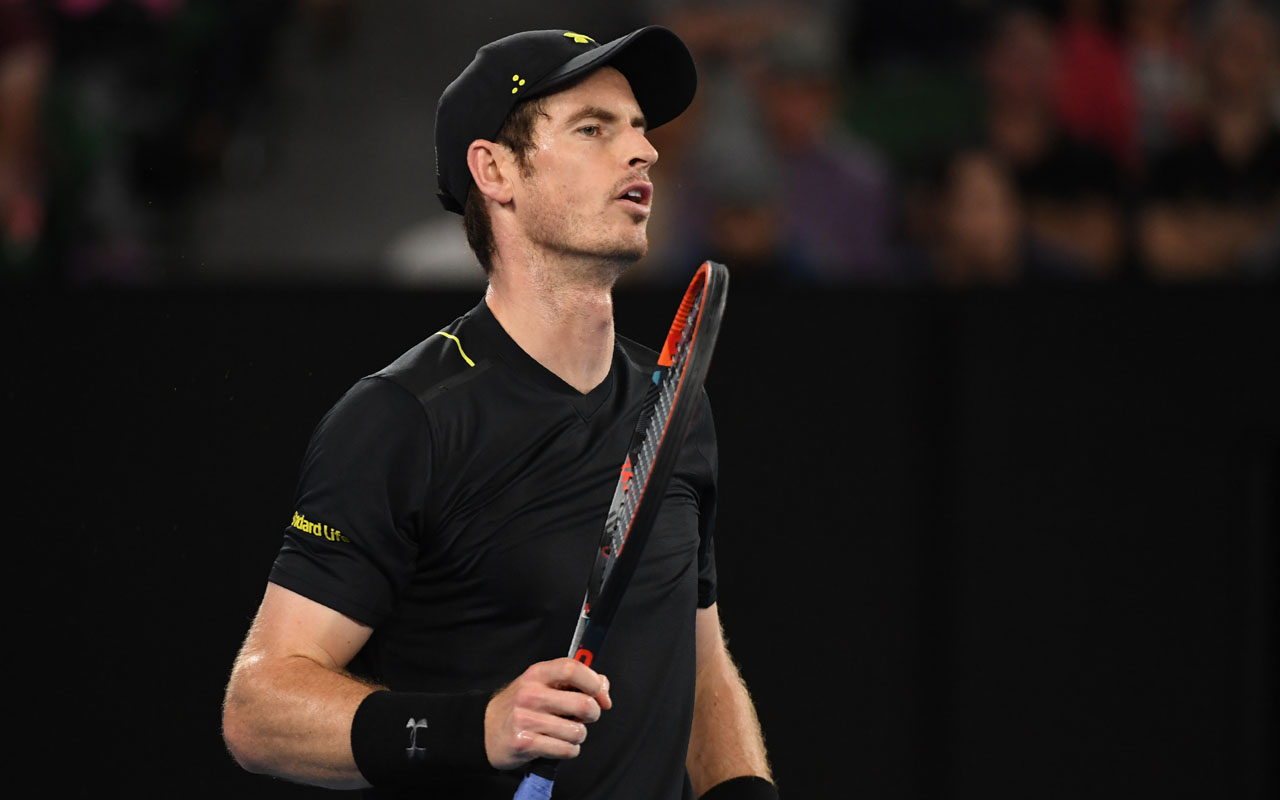 Britain's Andy Murray reacts after a point against Russia's Andrey Rublev during their men's singles match on day three of the Australian Open tennis tournament in Melbourne on January 18, 2017. / AFP PHOTO / SAEED KHAN /