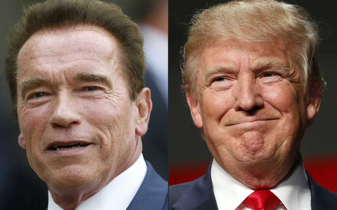 "This combination of pictures created on January 06, 2017 shows recent pictures of US actor and former governor of California Arnold Schwarzenegger (L) and US President Elect Donald Trump. As Donald Trump readies to move into the Oval Office, Arnold Schwarzenegger has steppedas host of the reality show ""Celebrity Apprentice"". In a pair of early morning tweets Friday, Trump ripped into the ""Terminator"" actor-turned-politician, mocking the viewer figures for the season premiere this week -- and calling himself a ""ratings machine"" by comparison. Schwarzenegger, 69, tweeted back at Trump: ""I wish you the best of luck and I hope you'll work for ALL of the American people as aggressively as you worked for your ratings."" / AFP PHOTO / THOMAS SAMSON AND JEFF KOWALSKY"