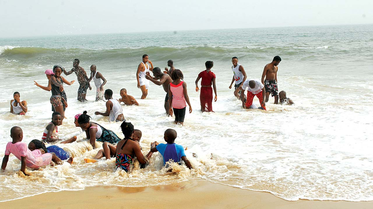 Revelers having fun at one of the numerous beaches in Lagos State
