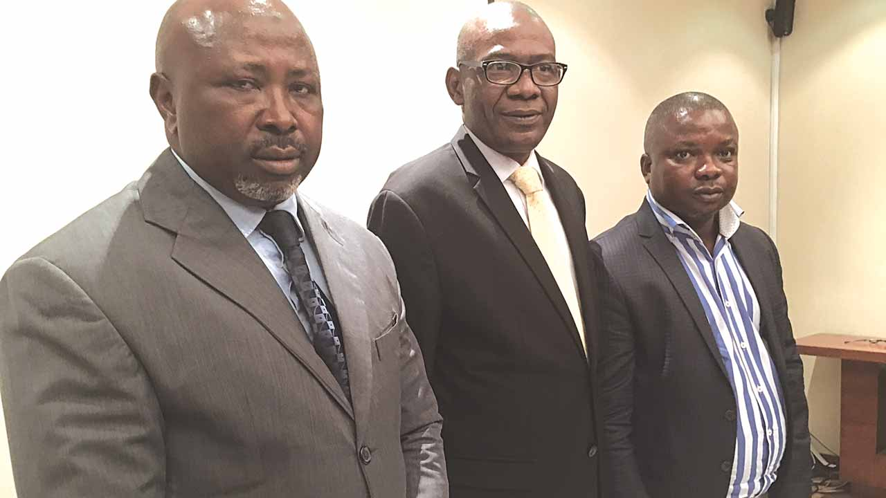 National Treasurer, Association of Bureaux De Change Operators (ABCON), Gbadamosi Moh-Murtala; Ag.President, Mohammed Gwadabe; and Chairman, South West ABCON, Taiwo Ebenezer, at the maiden interaction with journalists in Lagos, yesterday.