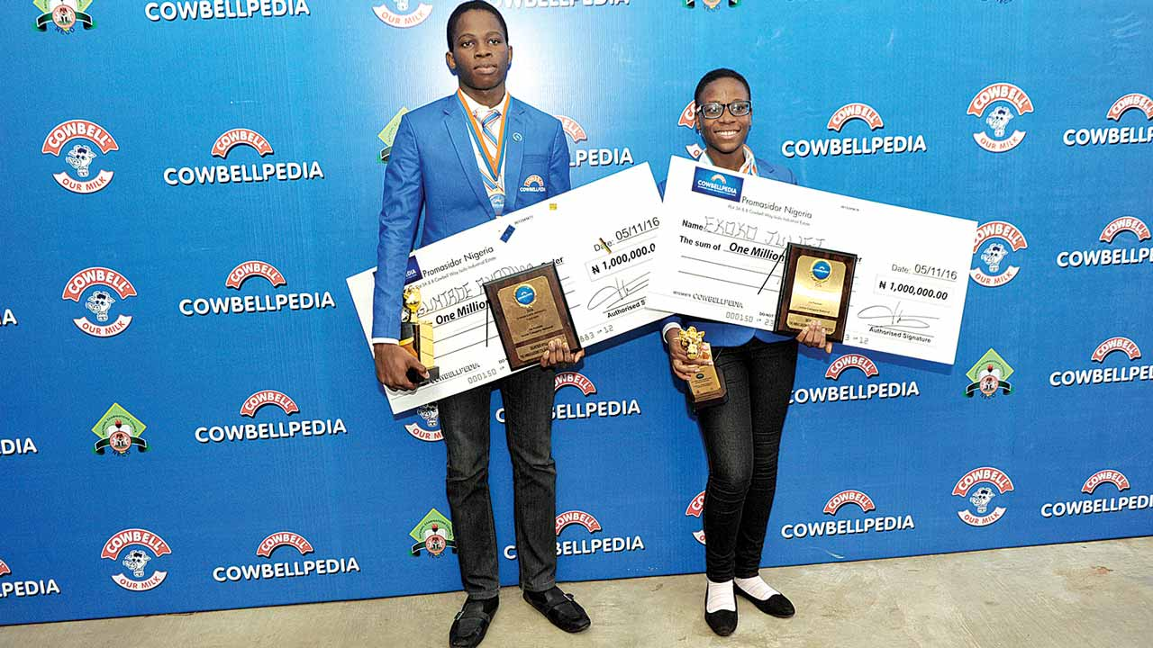 Oguntade Ayooluwa (left) and Juliet Ekoko both from The Ambassadors College, winners of the Cowbellpedia secondary school mathematics TV quiz, senior and junior categories respectively.