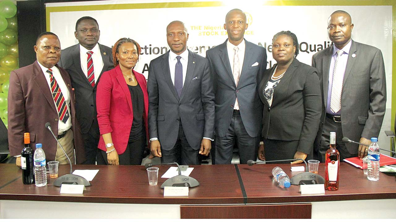 Doyen of Stockbrokers, Willie Sam Ndata (left);President, Chartered Institute of Stockbrokers (CIS), Olunseyi Abe; Acting Head, Corporate Services Division, Pai Gamde;  Chief Executive Officer, Nigerian Stock Exchange (NSE), Oscar N. Onyema; Executive Director, Market Operation and Technology, NSE, Ade Bajomo; Head, Council Secretariat/Council Secretary, NSE, Mojisola Adeola; and Head, Securities and Exchange Commission (SEC), Lagos Zonal Office, Steven Falomo, at the Induction Ceremony for Newly Qualified Authorised Dealing Clerks at the NSE on Friday.