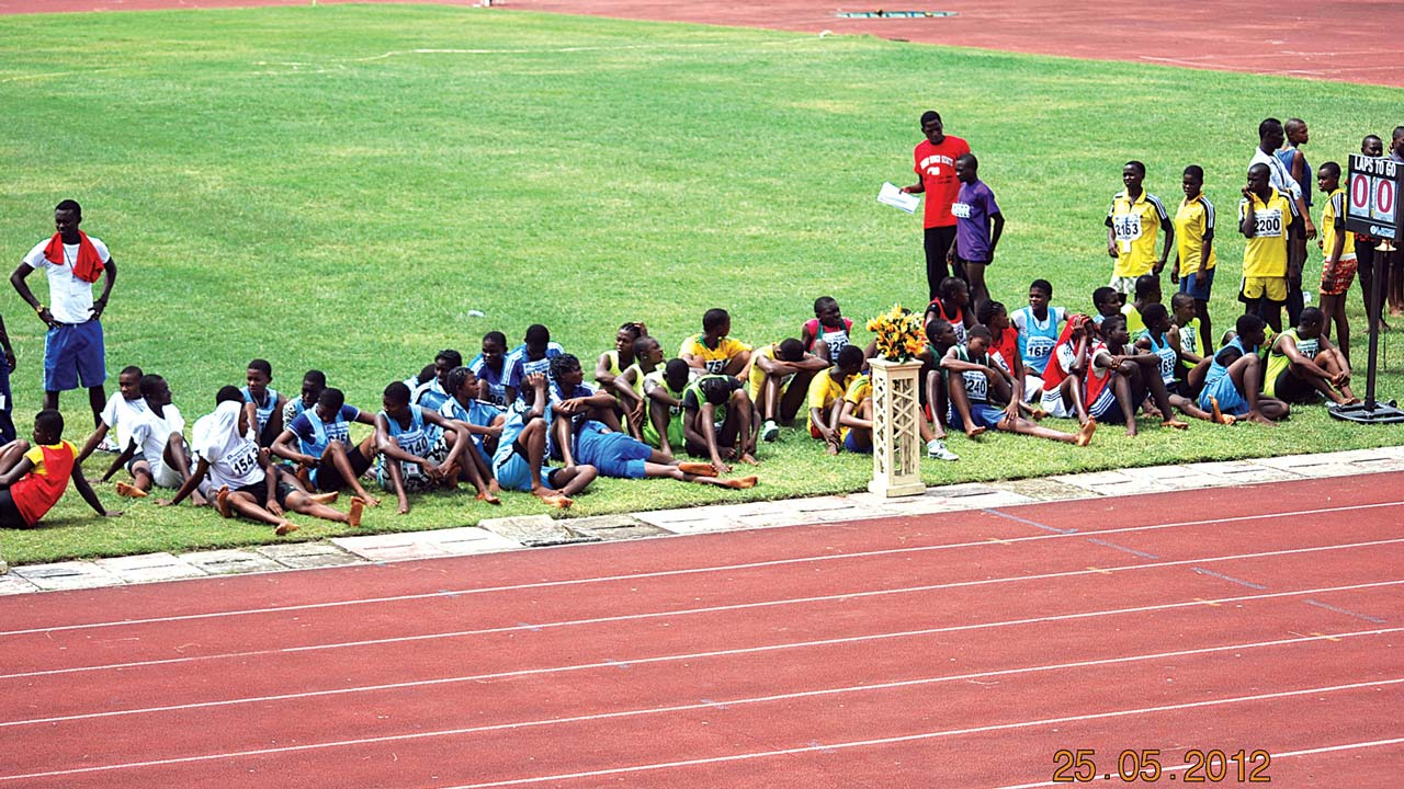 Cross River State students preparing for a recent inter-state sports meet. The National Lottery Fund has donated equipment that will aid the state's grassroots sports development.