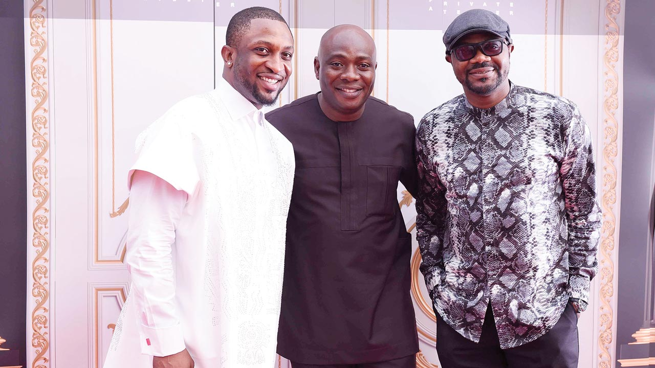 Darey Art-Alade, Michael Owolabi and DJ Jimmy Jatt at the opening party in Abuja.