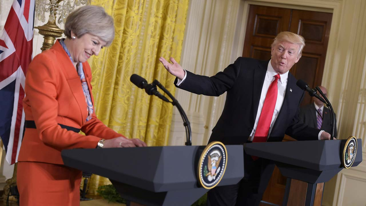 US President Donald Trump speaks during a joint press conference with Britain's Prime Minister Theresa May in the East Room of the White House on January 27, 2017 in Washington, DC.  MANDEL NGAN / AFP