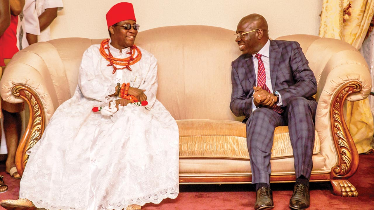 Oba of Benin, Oba Ewuare II and Governor Godwin Obaseki during the Oba's visit to Government House…