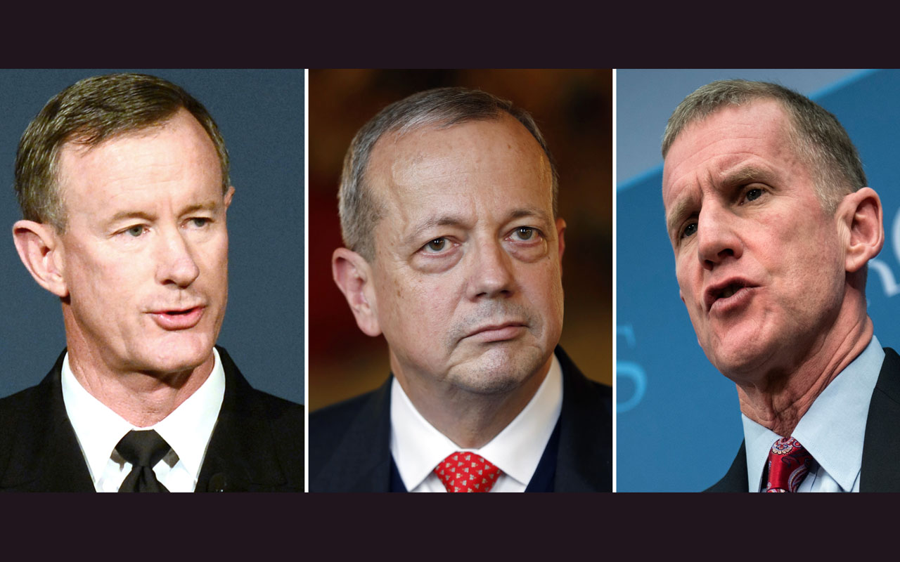 (COMBO)This combination of file photos shows L-R: retired US military leaders, Admiral William McRaven speaking in California on November 16, 2013, General John Allen speaking in in Paris on October 24, 2014 and General Stanley McChrystal speaking in Washington,DC on January 28, 2013. Dozens of retired top military brass have written to President-elect Donald Trump urging him not to follow through on campaign pledges to reinstate waterboarding, the New York Times reported January 10, 2017. In a letter dated January 6 and obtained by the Times, a group of 176 retired officers from across the US military, including 33 four-star generals and admirals, said they were concerned by such rhetoric. / AFP PHOTO