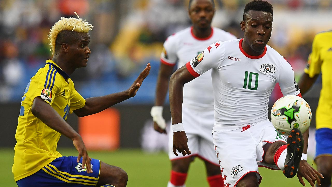 Gabon's Didier Ibrahim Ndong (left) challenges Burkina Faso's Alain Traore during the 2017 Africa Cup of Nations Group A match at the Stade de l'Amitie Sino-Gabonaise in Libreville…  yesterday. 														                                      PHOTO: AFP