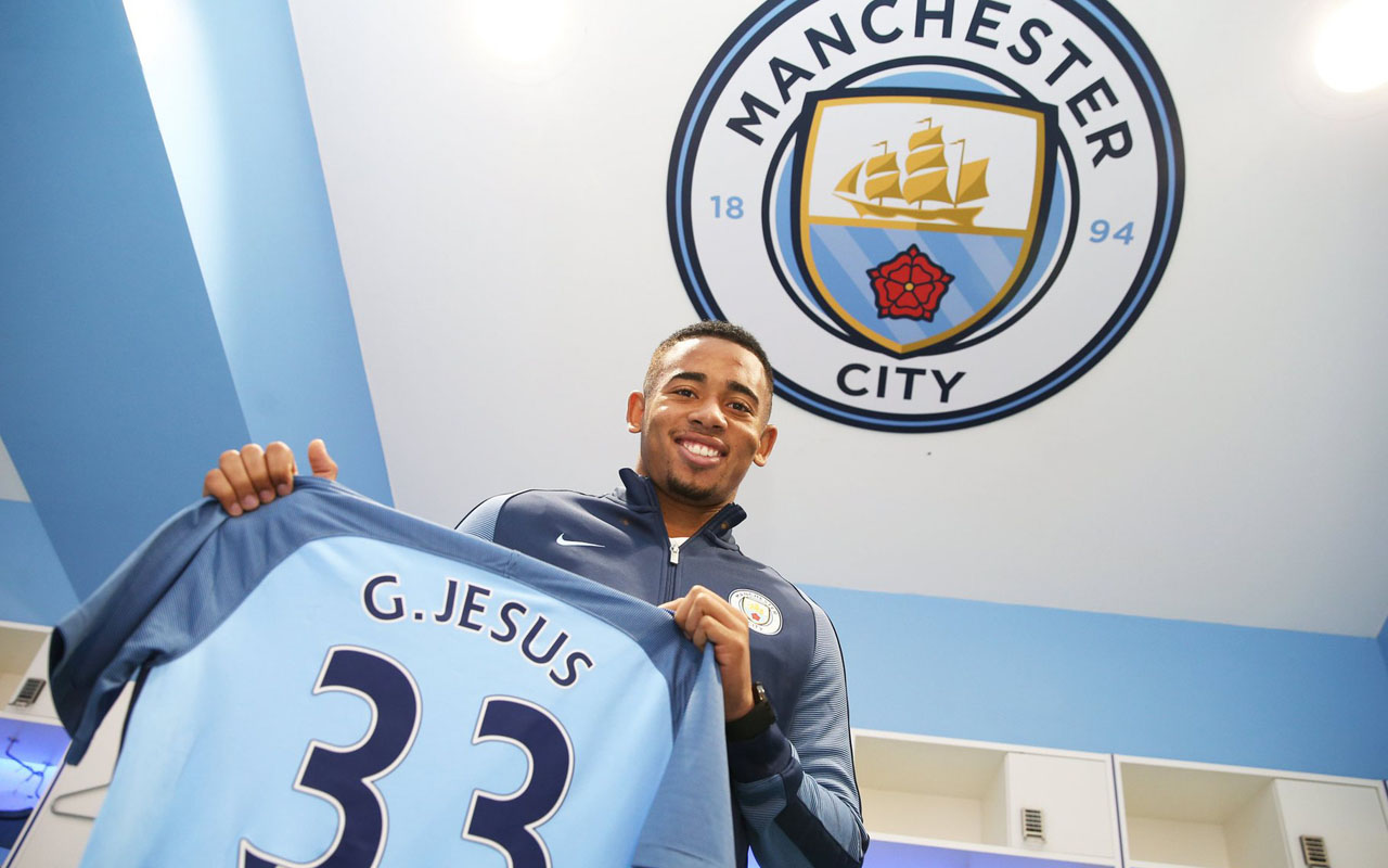 Gabriel Jesus has signed for Manchester City from Brazilian club Palmeiras for £27m. Photograph: Victoria Haydn/Manchester City FC/Press Association