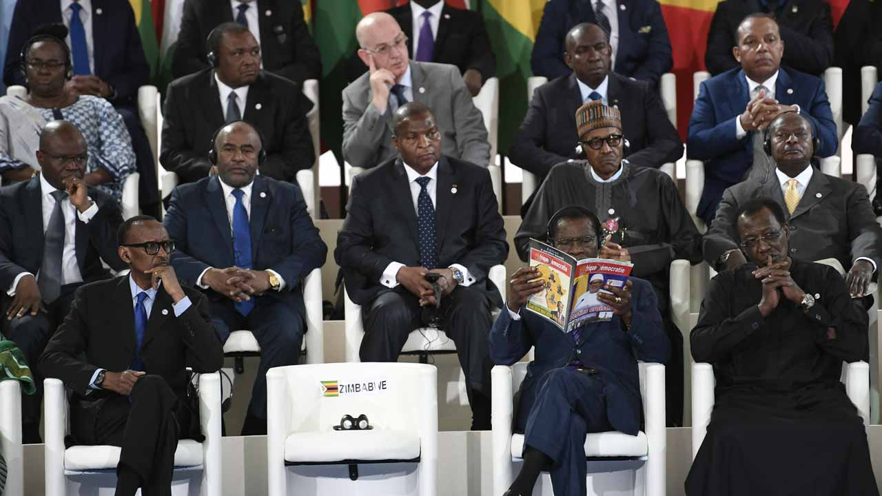 (FromL) Rwandan President Paul Kagame, Equatorial Guinea's president Teodoro Obiang Nguema and Chad's President Idriss Deby attend the 27th Africa-France summit in Bamako on January 14, 2017. Some 30 African leaders and French President Francois Hollande are gathering for an Africa-France summit to discuss the jihadist threat, challenges to governance and the migrant crisis. STEPHANE DE SAKUTIN / AFP