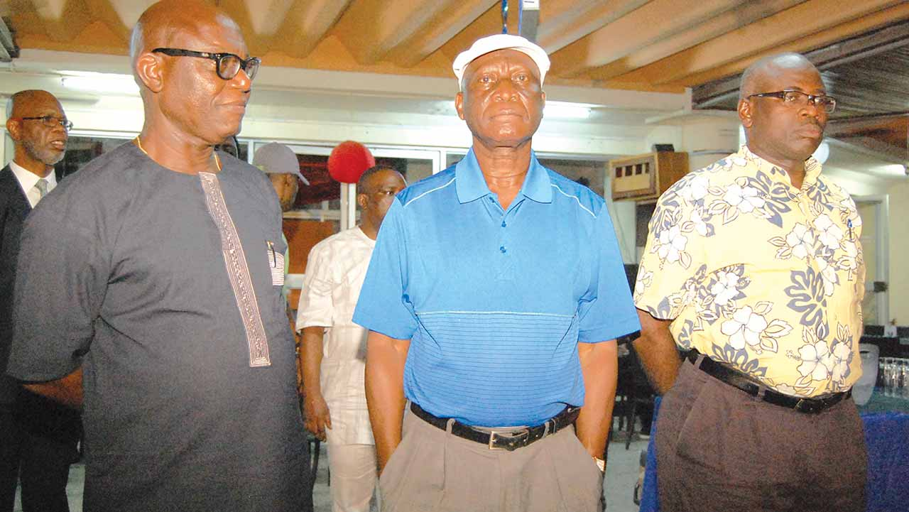 Bar Adviser, Mr. Tafa Zibiri-Aliu; Club Chairman, Major Gen. Mufutau Balogun (rtd) and Vice Chairman, Mr. Olusola Adeosun at the switching off of Christmas Lights.