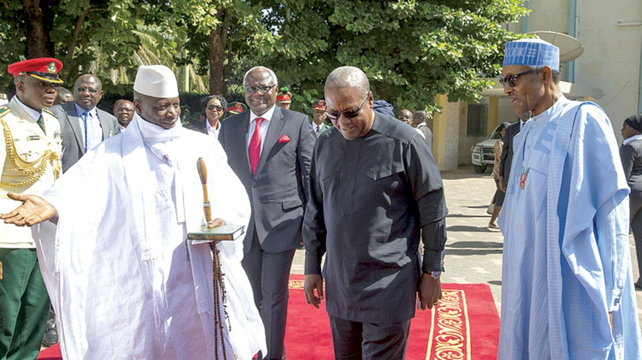 President Jammeh welcomes the presidents of Sierra Leone, Nigeria and Ghana for crisis talks in December. PHOTO: EPA