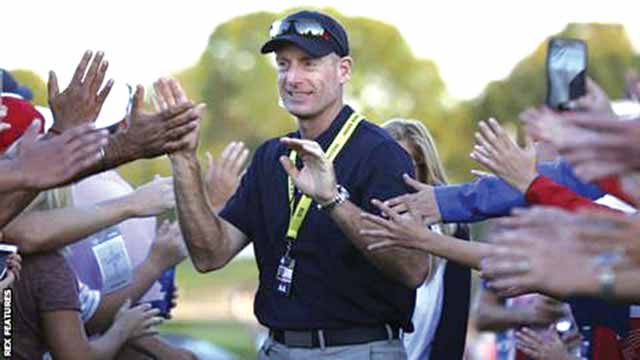 Jim Furyk was a vice-captain in 2016, the first time he had not played in 10 Ryder Cups. Photos: BBC Sports