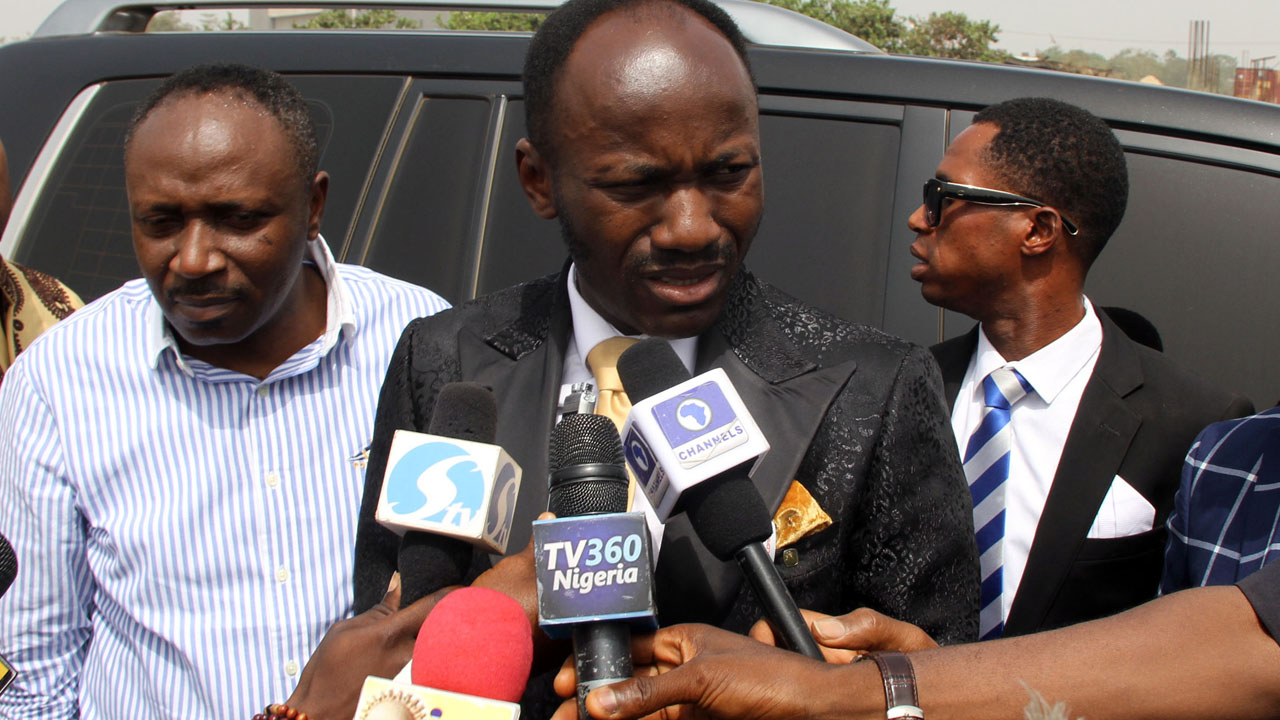 President, Omega Fire Ministry, Apostle Johnson Suleiman addressing journalists on his way to honour an invitation of the Department of State Services (DSS) in Abuja …yesterday.                                                                                   PHOTO: LUCY LADIDI ELUKPO.