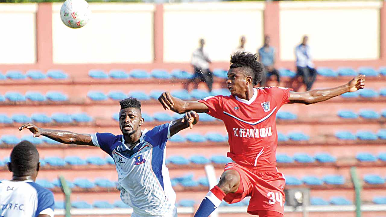 FC IfeanyiUbah's Ngoma Luamba (right) in aerial duel with Lobi Stars' Joseph Nathaniel at last season's NPFL's fixture. The Charity Cup clash is expected to produce a fierce battle… tomorrow.